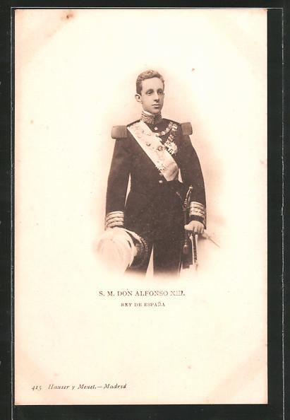 AK König Alfonso XIII. von Spanien in Uniform