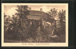 AK Bremen-Vegesack, Schloss Schönebeck hinter Bäumen
