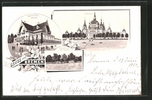 Lithographie Bremen, Meierei im Bürgerpark, Parkhaus, Kaffeehaus Bürgerpark