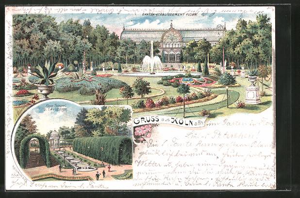 Lithographie Köln-Riehl, Garten-Etablissement Flora, Flora-Tempel