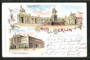 Lithographie Berlin, Palais Kaiser Wilhelms I., Denkmal Kaiser Wilhelms des Grossen