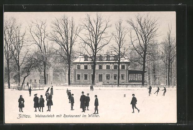 AK Zittau, Weinauteich mit Restaurant im Winter
