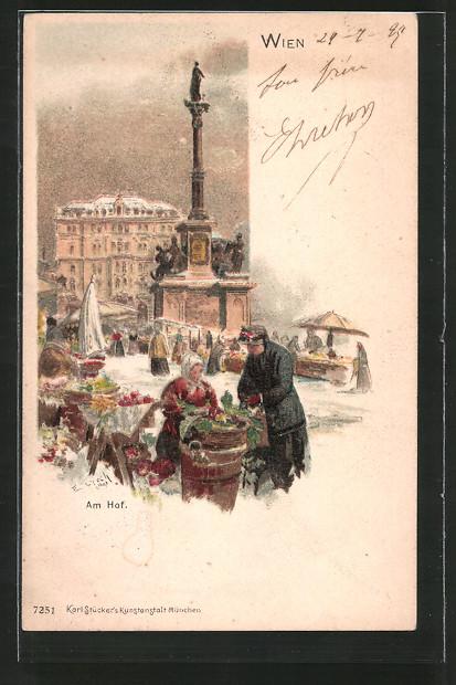 Künstler-Lithographie Emil Czech: Wien, Am Hof mit Marktständen