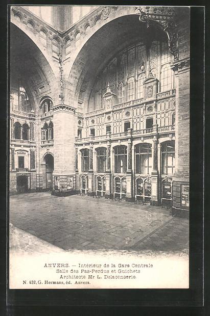 AK Anvers, Intérieur de la gare centrale, salle des pas-perdus et guichets, Innenansicht des Bahnhofs