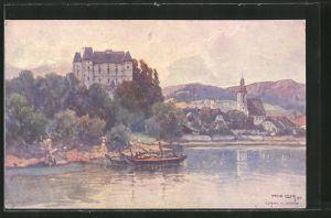 Künstler-AK Fritz Lach: Grein, Blick zum Schloss Greinburg, Boote