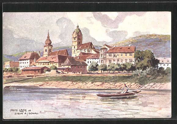 Künstler-AK Fritz Lach: Stein a. D., Blick zum Ort, Ruderboot