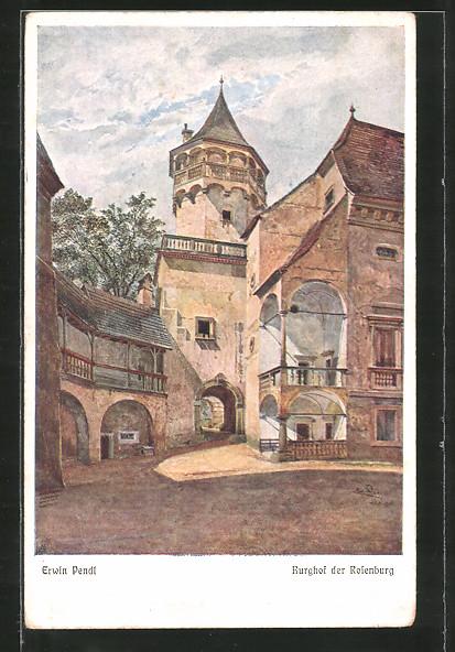 Künstler-AK Erwin Pendl: Rosenburg, Burghof der Rosenburg