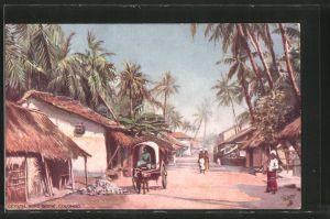 Künstler-AK Colombo, Road Scene, Strassenszene