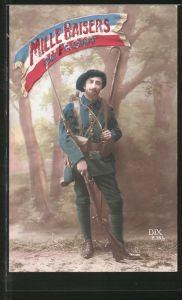 AK Mille Baisers du Front, Alpenjäger in Uniform mit Gewehr, Trikolore