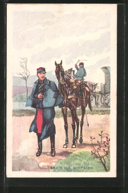 AK Train des Equipages, Soldat mit Pferd