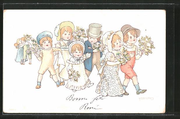 Künstler-AK Adolf Karpellus: Kinder als Brautpaare