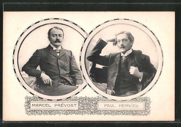 AK Marcel Prévost und Paul Hervieu, Schriftsteller