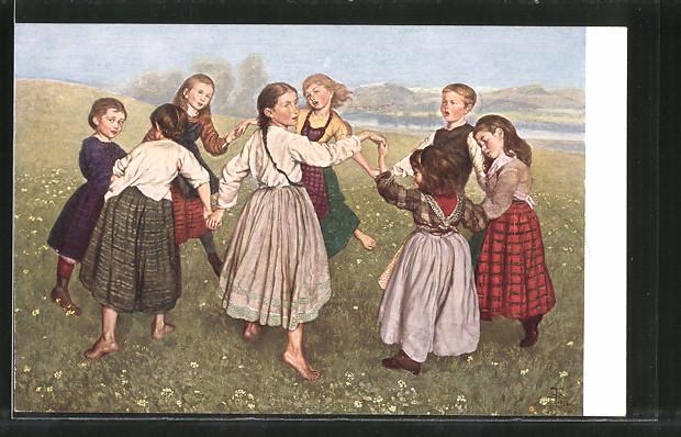 Künstler-AK Hans Thoma: Kinder tanzen Ringelreihen