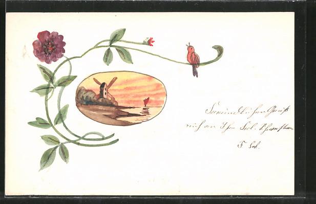 Künstler-AK Handgemalt: Windmühle, Blume und Vogel