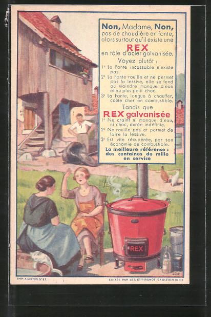 AK Rex galvanisée, Reklame, Frauen mit Ofen