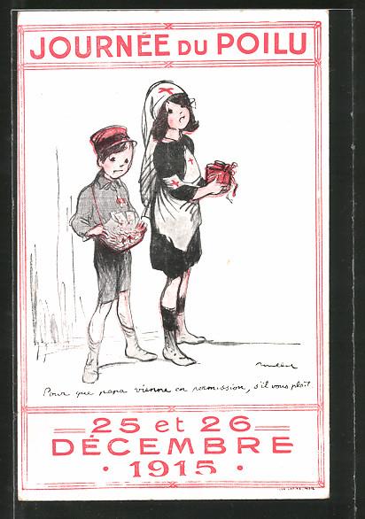Künstler-AK Francisque Poulbot: Journée du Poilu, 25 et 26 Decembre 1915, Kleine Krankenschwester