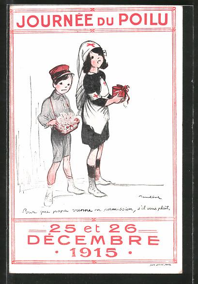 Künstler-AK Francisque Poulbot: Journée du Poilu, 25 et 26 Decembre 1915, Rotes Kreuz