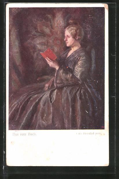 Künstler-AK Otto Herschel: Das rote Buch, Lesende Frau
