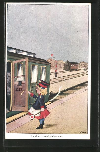 Künstler-AK Korle: Fräulein Eisenbahnbeamter