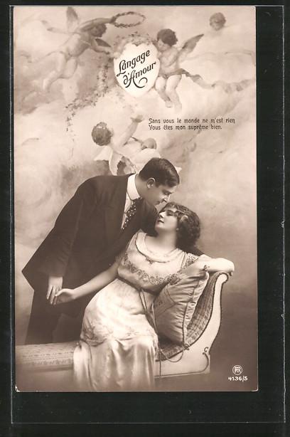 AK Langage d'Amour, Sans vous le monde ne m'est rien..., Sprache der Liebe, Paar beim Kuss