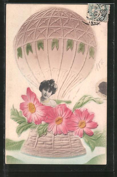 Foto-Collage-AK Frau mit Blumen in einem Ballon