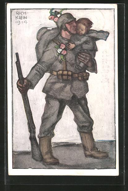 Künstler-AK Richard Klein: Bayerische Kriegsinvaliden-Fürsorge, Soldat mit Kind