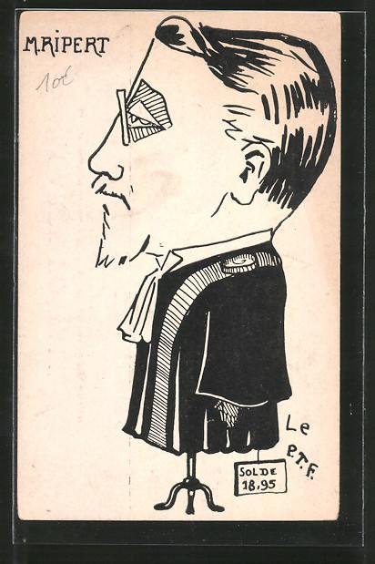 AK Karikatur des französischen Politikers M. Ripert als Kleiderpuppe