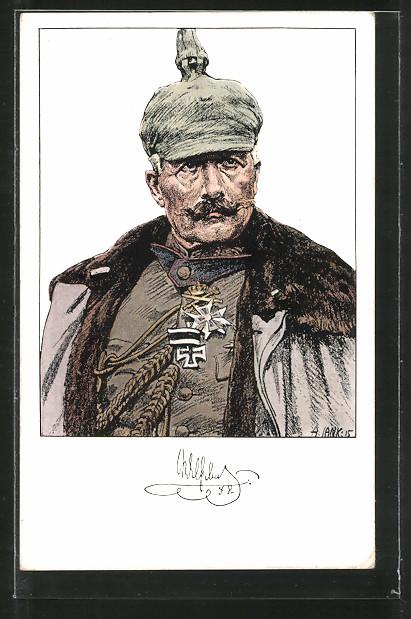 Künstler-AK Angelo Jank: Kaiser Wilhelm II. in Uniform mit Pickelhaube