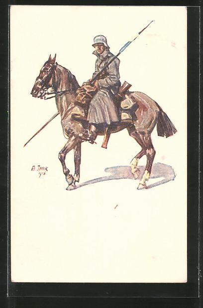 Künstler-AK Angelo Jank: Soldat zu Pferd