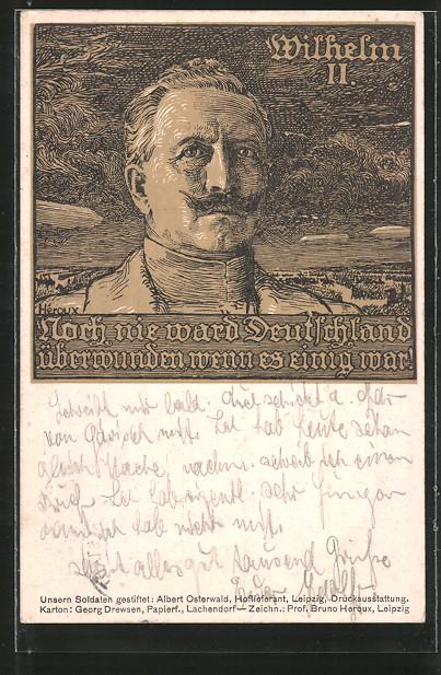 Künstler-AK Bruno Heroux: Kaiser Wilhelm II. vor Gewitterwolken mit Zepelin