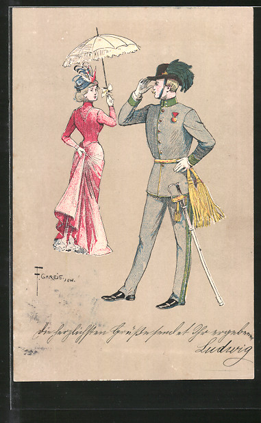 Künstler-AK F. Gareis: Mann mit Degen grüsst Dame mit Schirm