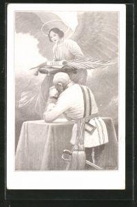 Künstler-AK C. Benesch: Kaiser Franz Josef I. von Österreich betend vor dem Friedensengel