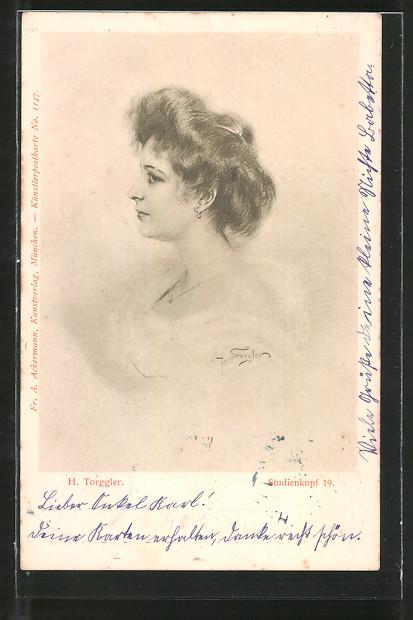 Künstler-AK Hermann Torggler: Studienkopf 19, Frauenprofil
