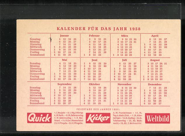 kalender 1958 weltbild quick kickerbote berbringt zeitschriften mit schneemann nr 7093578. Black Bedroom Furniture Sets. Home Design Ideas