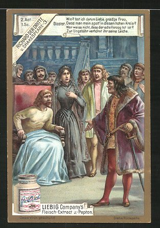 Sammelbild Liebig's Fleisch-Extract, Shakespeare Stück Richard III., Dialog Gloster & Anna