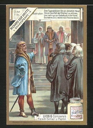 Sammelbild Liebig's Fleisch-Extract, Shakespeare Stück Richard III., Szene in Buckingham