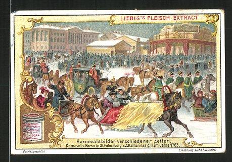 Sammelbild Liebig's Fleisch Extract, Karneval in St. Petersburg um 1765