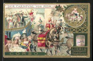 Sammelbild Liebig's Fleisch Extract, Karneval von Rom, Szene beim Corso, Wagen-Rennen