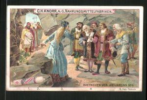 Sammelbild Heilbronn, Knorr AG, Kaethchen von Heilbronn No. 5, Katharina von Schwaben wird zur Prinzessin ernannt