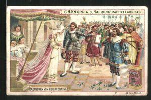 Sammelbild Heilbronn, Knorr AG, Kaethchen von Heilbronn No. 6, Graf von Strahl hält um die Hand von Katharina an