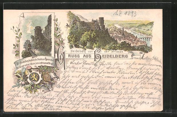 Vorläufer-Lithographie Heidelberg, 1893, Ortsansicht von der Terrasse aus, Burg