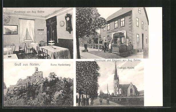 AK Nörten, Ruine Hardenberg, Konditorei & Bäckerei v. Aug. Bohne, Evangl. Kirche