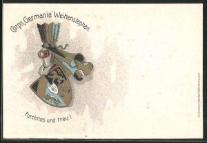 AK Freising, Studentenwappen Corps, Germania'Weihenstephan