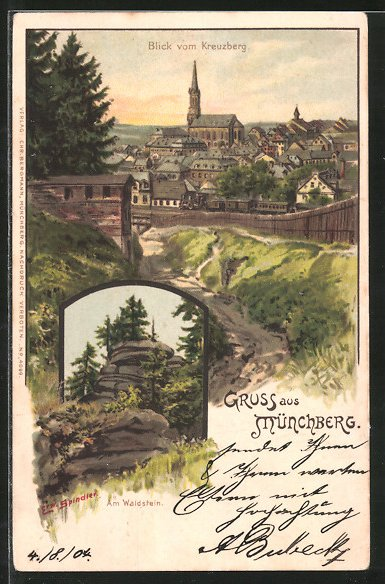Künstler-Lithographie Erwin Spindler: Münchberg, Partie am Waldstein, Blick vom Kreuzberg auf den Ort