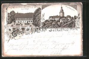 Lithographie Selkethal, Gasthaus zum Falken, Burg Falkenstein, Pferdekutsche