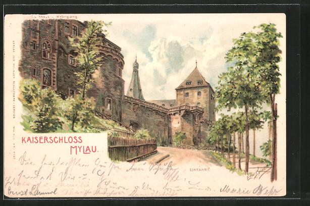Künstler-Lithographie Erwin Spindler: Mylau, Einfahrt zum Kaiserschloss, Rathaus mit Wehrgang