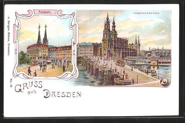 Lithographie Dresden, Postplatz, Strassenbahn auf der Augustusbrücke