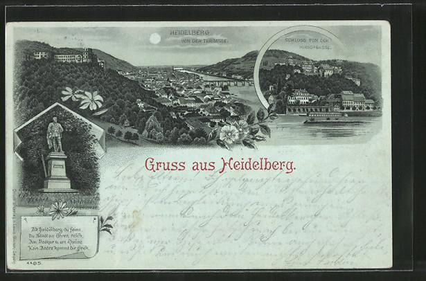Mondschein-Lithographie Heidelberg, Panorama von der Terrasse, Schloss von der Hirschgasse