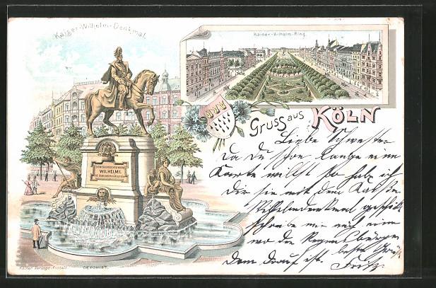 Lithographie Köln-Neustadt, Kaiser-Wilhelm-Ring, Kaiser-Wilhelm-Denkmal