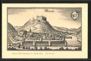 Künstler-AK Bad Urach, Ortsansicht im Jahre 1663 nach Merian